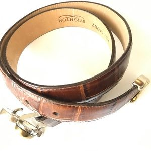 Brighton Croc Leather Belt Brown Heart Buckle